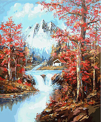 """DIY Paint By Number 16""""*20"""" Kit Autumn Forest On Canvas With Nice Box"""