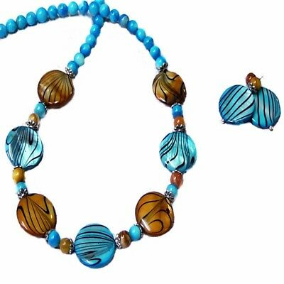Aqua Blue and Gold Mother of Pearl necklace earrings set choose your fittings