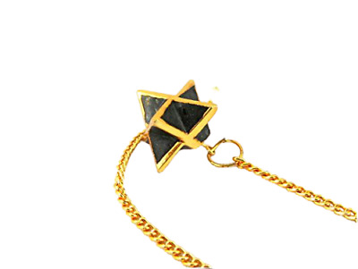 Jet Gold Plated Black Tourmaline Star Merkaba Pendulum 1 inch Jet International