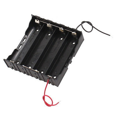 Rectangle In Parallel 2-Wired 4 x 3.7V 18650 Battery Holder Case Black B4M7