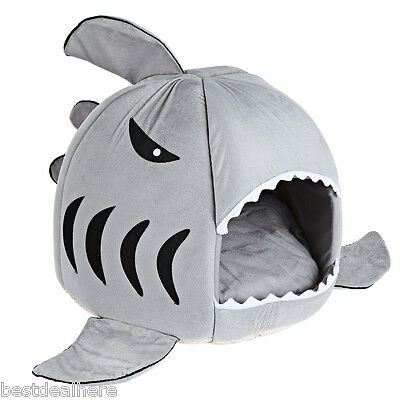 Cute Shark Mouth Pet Dog Cat House Removable Washable Bed Kennel Warm Cushion
