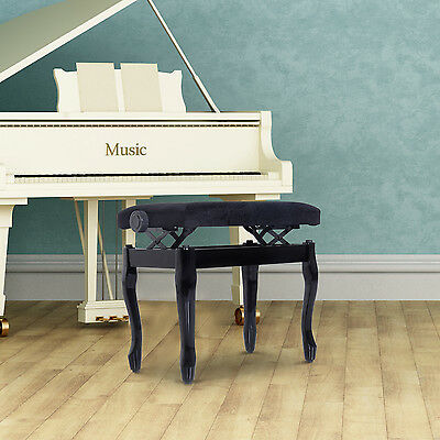 "HOMCOM 25"" Durable Piano Bench Adjustable Height Padded Seat Lint Keyboard"