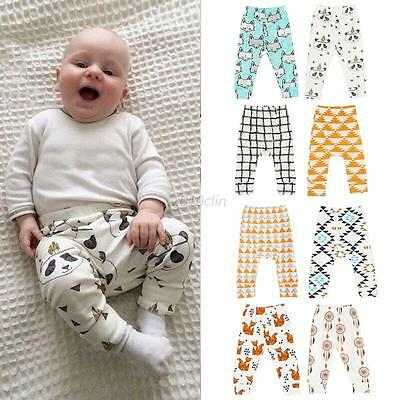 Kids Boys Girls Harem Pants Baby Printed Toddler Trousers Bottoms Leggings UK