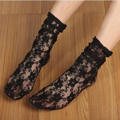 Fashion Ladies Women Girl Hollow Lace Fancy Ankle Ruffle Frilly Socks Spring
