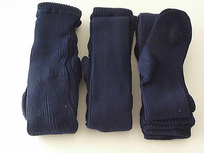 Girls thick ribbed tights - 3 pair pack - Blue (D-04)