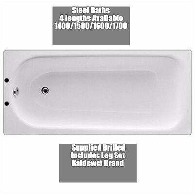 Steel Baths With Legset White Bathroom Modern Durable 4 sizes 2 Tap Hole