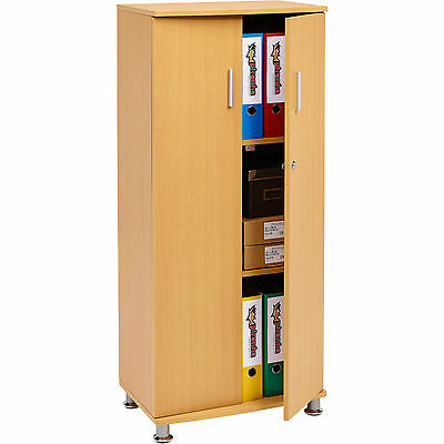 Lockable Office Cupboard Furniture Storage Organize Cabinet With 3 Shelves Beech