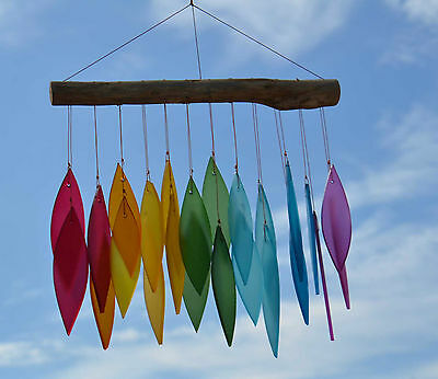 Fair Trade Rainbow Frosted Glass Leaf Wind Chime Handmade in Bali