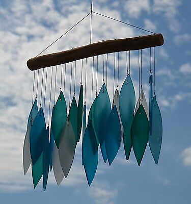 Fair Trade Blue Frosted Glass Leaf Wind Chime Handmade