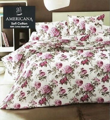 Double Or King Size Pink Victoria Rose Winterwarm Flannelette 4 Piece Sheet Set