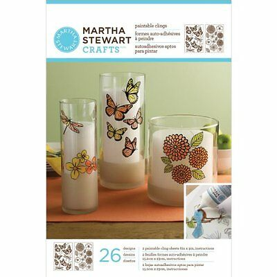 Martha Stewart Crafts Glass Paintable Cling Sheet-Butterfly & Blossom