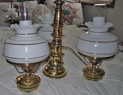 Vtg 3 Light Ant.Brass Hanging Chandelier Milk Glass Shades/Chimneys+1=Down-Lite
