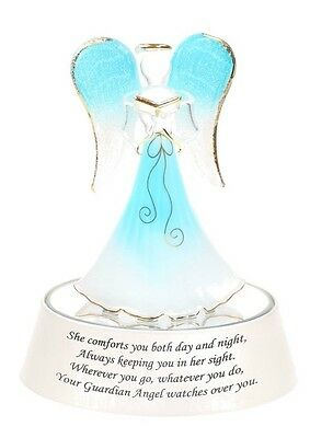Light Up Guardian Angel in Blue Praying on a mirrored box