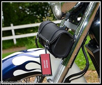 Sacoche de fourche en Cuir - Rec Simple - Volusia Sportster iron forty VN Harley