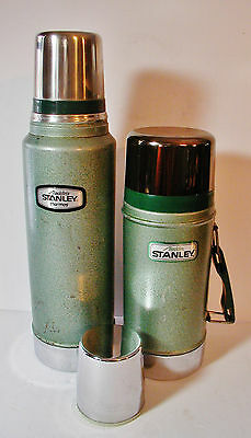Stanley Green Metal Thermos Tall and Wide Mouth Set of Two