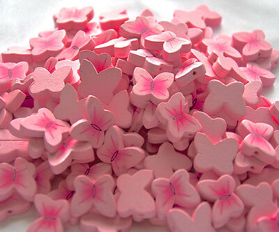 Bag of 150 pcs. Light pink wooden beads charm BUTTERFLY patern .20x15 mm. NEW
