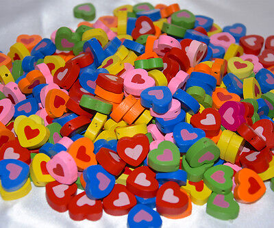 Bag of 135 pcs. Multi-coloure wooden beads charm HEART patern FLAT .NEW