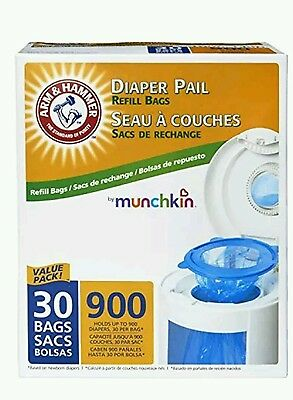 Munchkin Arm & Hammer Diaper Pail Snap, Seal and Toss Refill Bags, 900 Count, 30