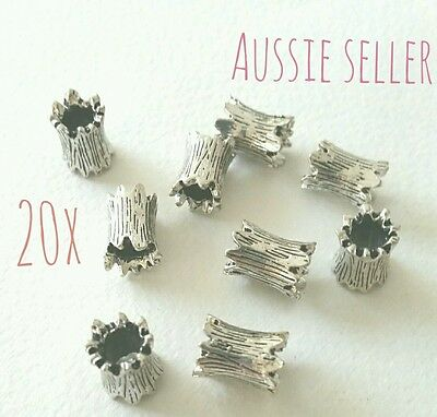 20 spacer tube beads hollow antique silver jewellery crafts jagged edges DIY