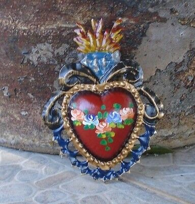 Heart With Painted Flowers Milagro Day Of Dead Exvoto Nicho Retablo