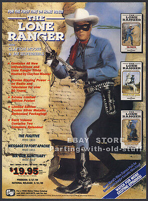 THE LONE RANGER / TONTO__Original 1989 Trade Print AD promo__CLAYTON MOORE__TV