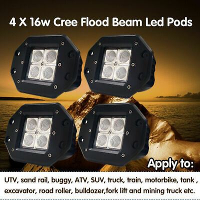"""4x 4"""" inch 24W CREE LED Work Light Cube Pods Flush Mount SUV Ford Truck Jeep 5/3"""