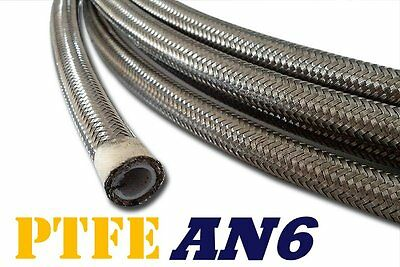 """-6An An6 6-An 3/8"""" Stainless Steel Braided Oil Fuel Line Hose Ptfe 20Ft - Chrome"""
