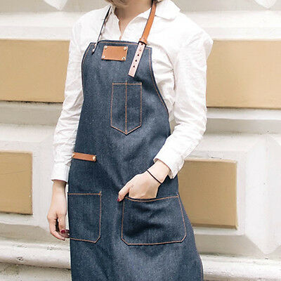 Blue Denim Bib Apron w/ Leather Straps Barista Florist Barber Stylist Uniforms