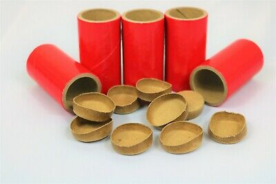 "5 Thick WALLED SALUTE Firework Tubes Shells 1"" x 2-1/2"" x 1/8"" & 10 Paper plugs"