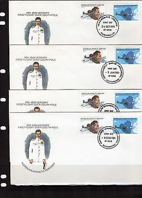 1979 AAT South Pole Flight Pair Base Canceled Set Of 4 FDC, Mint Condition