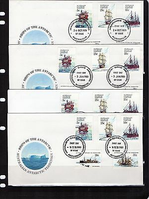 1979 AAT Ships Of Antarctic Series I Set Of 4 Base Cancel FDC, Mint Condition
