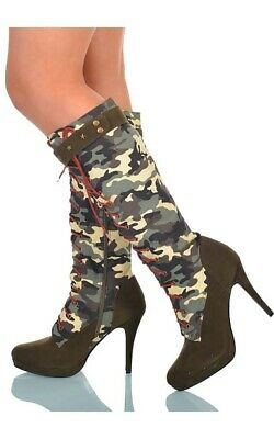 Army Military Camouflage Adult Womens Sexy High Heel Boots