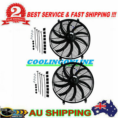 """2PCS 10"""" inch 12V Push Pull Electric Cooling Fan Thermo Fan + Mounting kits"""