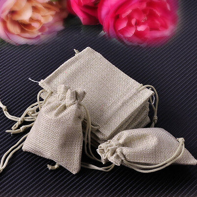 10Pcs Small Burlap Simple Linen Jute Sack Jewelry Pouch Drawstring Gift Bags New