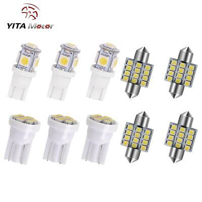 11x White LED Interior Package Kit T10 31mm Map Dome License Interior Light Bulb
