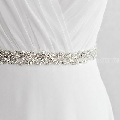 Vintage Bridal Handmade Ribbon Pearl Rhinestone Crystal Wedding Dress Belt Sash
