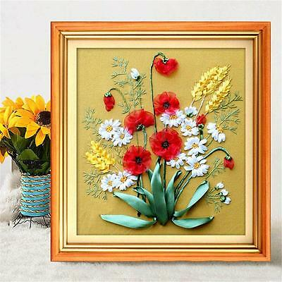 Ribbon Embroidery Blooming Peace Flowers Needlework Craft Kit DIY Room Decor