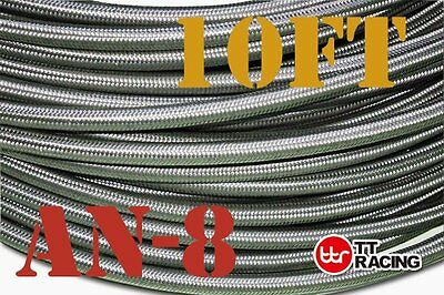 10FT AN-8 PTFE fittings Stainless Steel Teflon Ethanol Fuel Oil Gas Line Hose