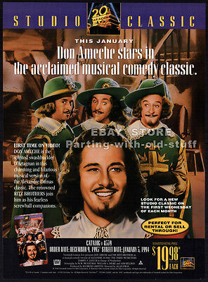THE THREE MUSKETEERS (1948)__Original 1993 Trade AD / movie promo__DON AMECHE