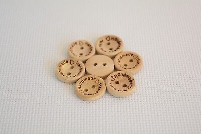 10 Pcs ''Hand Made'' with Love sewing wood button 15mm Round (30)