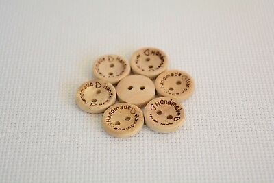 10 Pcs '' Hand Made'' with Love sewing wood button 15mm Round (30)