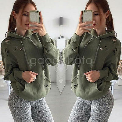 Fashion Women Long Sleeve Hoodie Sweatshirt Sweater Casual Hooded Coat Pullover