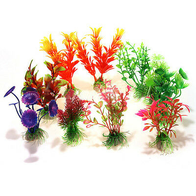 10 x Mixte Artificiel Aquarium Reservoir de Poissons Plante Aquatique WT