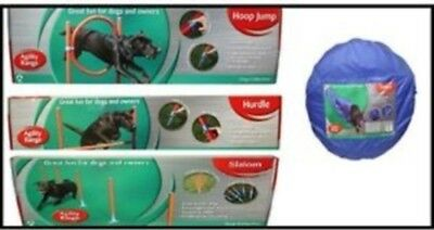 ROSEWOOD PET HOME AGILITY KIT dog garden obedience - tunnel / hoop jump / weave