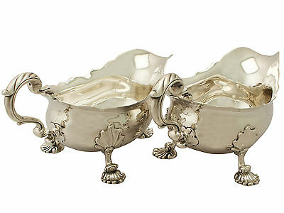 Antique Pair of Sterling Silver Gravy Boast, George II