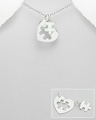 Puzzle of the Heart Autism Awareness 925 Sterling Silver Charm Pendant Necklace