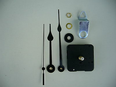 CLOCK MECHANISM QUARTZ  12MM TICKING SPINDLE 130mm BLACK FRENCH SPADE HANDS