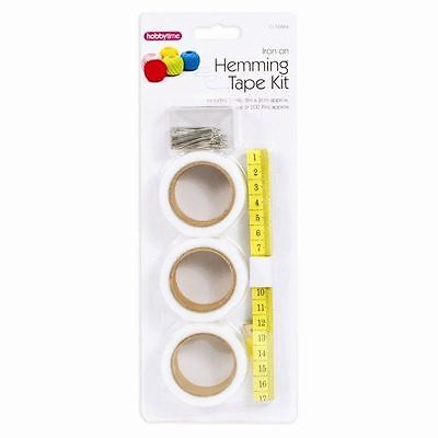 Hemming Tape 204 Piece Kit - 3 Rolls of size 8mx2cm, 1 Measuring Tape, 200 Pins