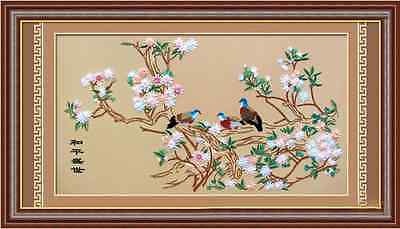 DIY Ribbon Embroidery Kits Handmade 80*150 Floral Peace Doves Home Decor Large