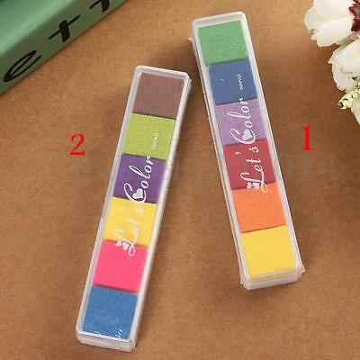 Multi 6 Colors Ink Pad Oil Based Craft For Rubber Stamps Paper Wood Fabric